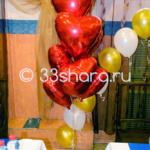 Украшение свадебного зала - фонтан из фольгированных шаров