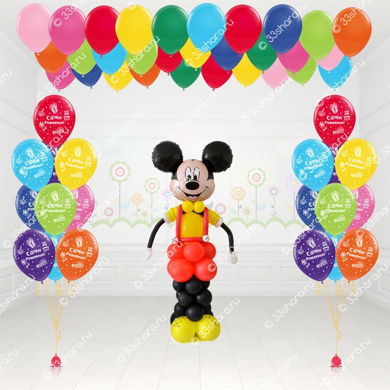 Детский пакет №7 Фигурка Микки Мауса, фонтаны, шарики под потолок