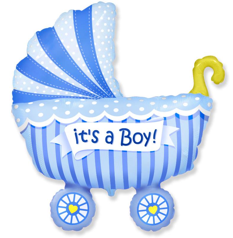 901740 Фольгированная коляска для мальчика