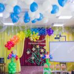 Оформление зала на выпускной в детском саду - солнышко, радуга, шары под потолок и напольные композиции