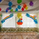 Выпускной в детском саду - панно Кораблик, солнышко, шары под потолок