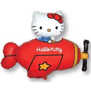 901720R Шарик фольгированный Hello Kitty на самолете