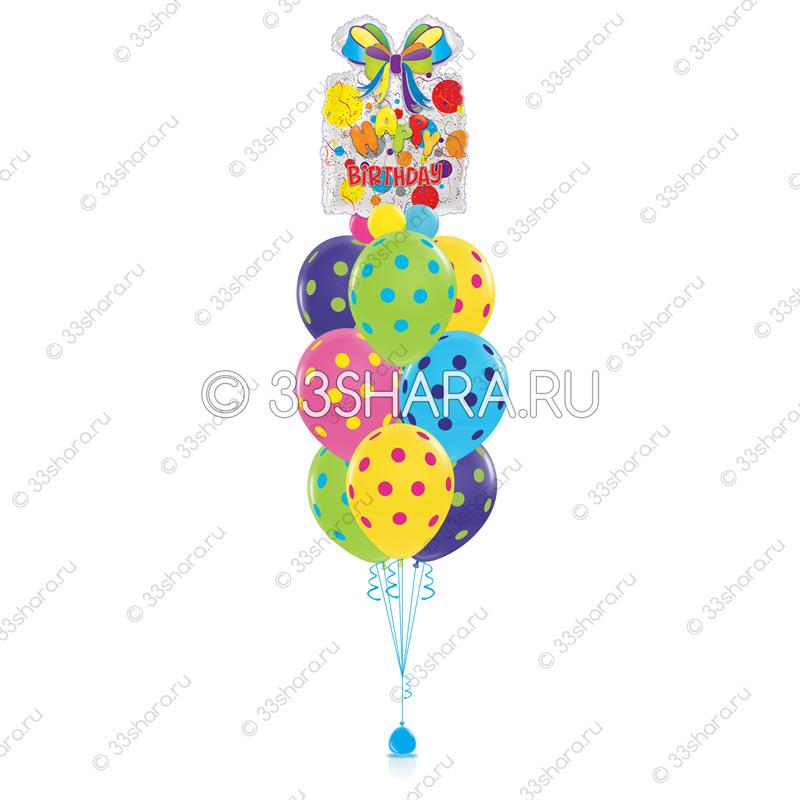 7-03 Фонтан из шаров с гелием с днем рождения