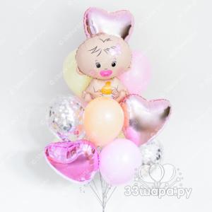 Фонтан из шариков на выписку девочки