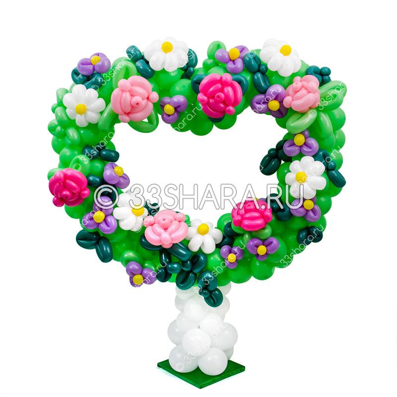 2-89 Цветочное сердце из воздушных шаров
