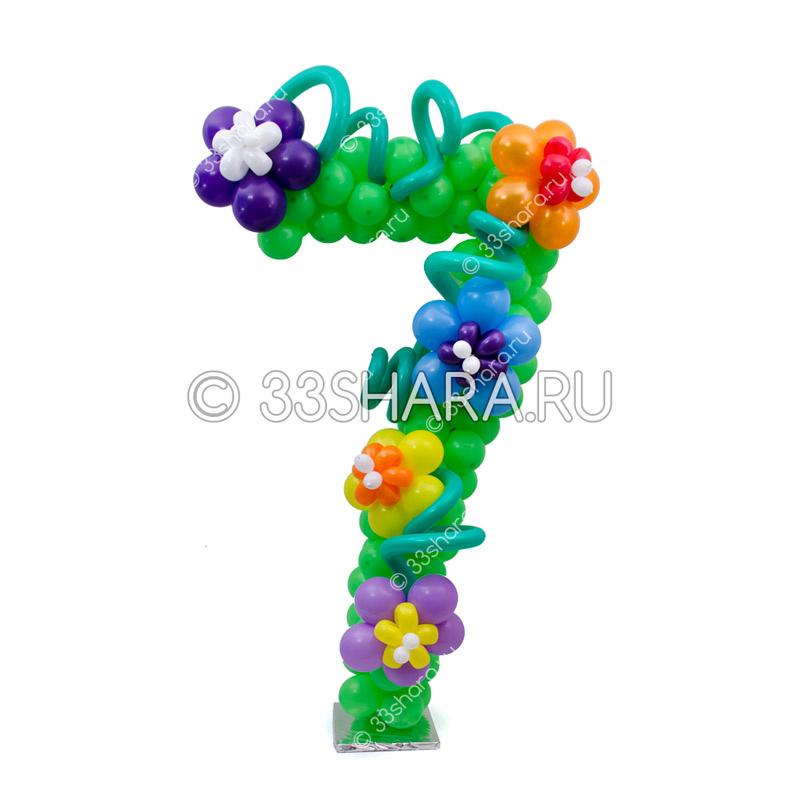 3-22 Композиция с цифрой 7 из воздушных шаров