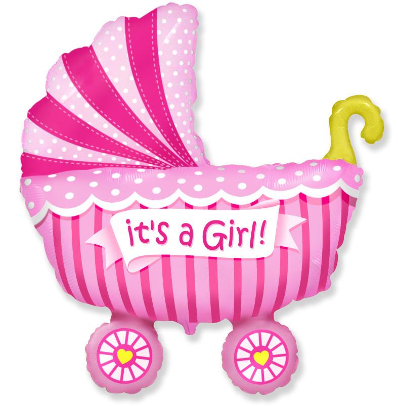 901741 Фольгированная коляска для девочки