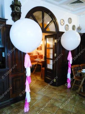Огромные белые шары с тассел гирляндой