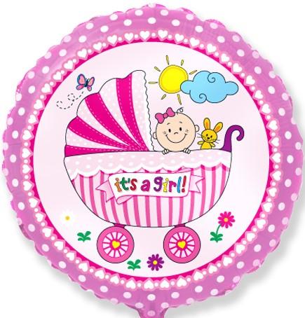 401579 круглый фольгированный шарик с коляской