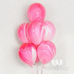 Гелиевые шарики СуперАгаты бело-розовые