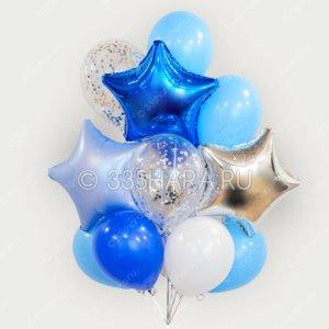 Набор гелиевых шаров в голубых тонах