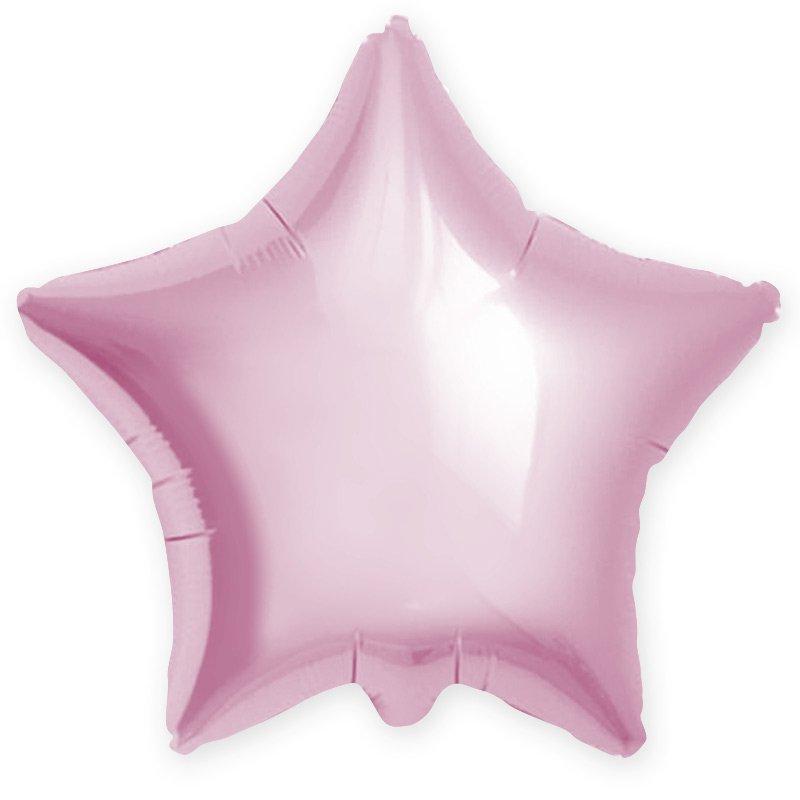 Звезда фольгированная светло розовая