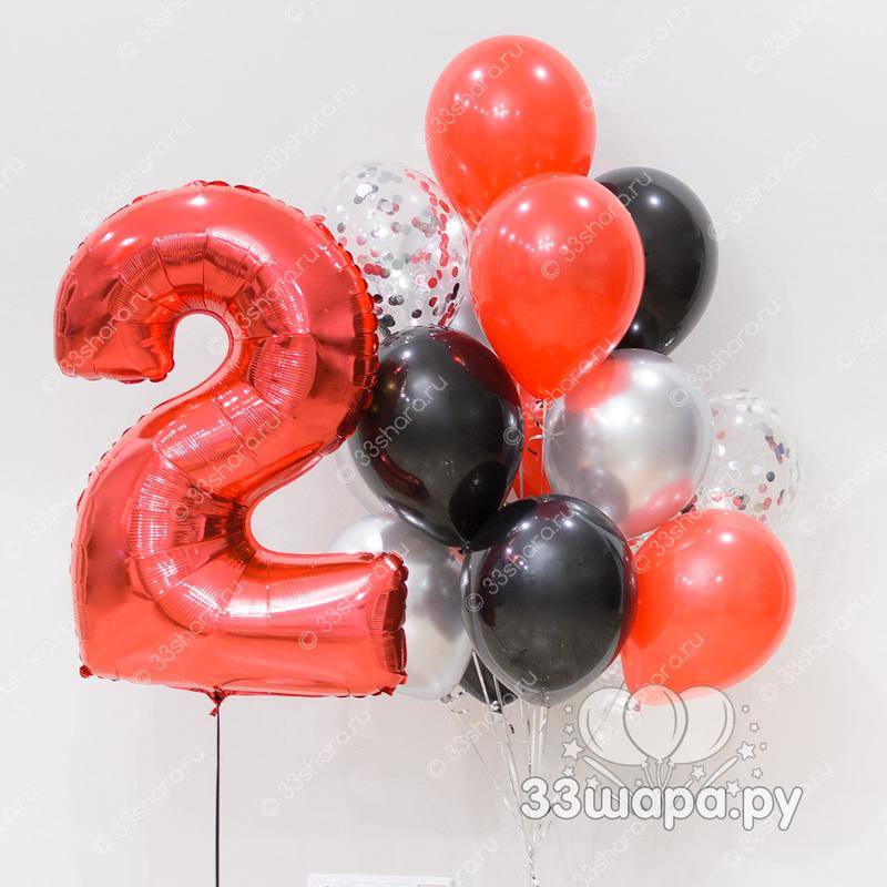 """Набор шаров """"Красное и черное"""" с цифрой"""