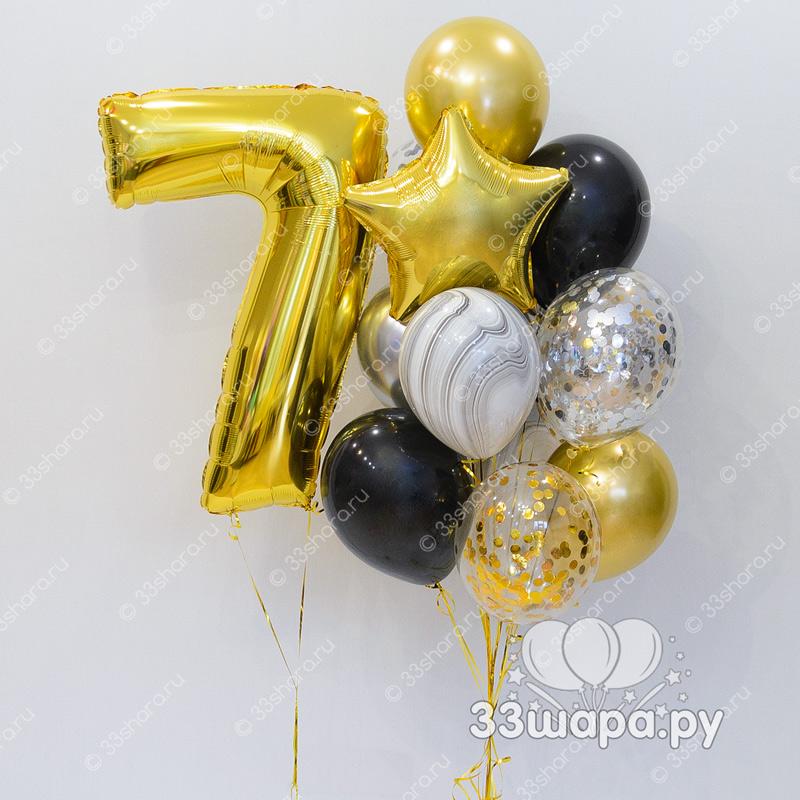 """Набор шаров """"Брызги шампанского"""" с цифрой"""