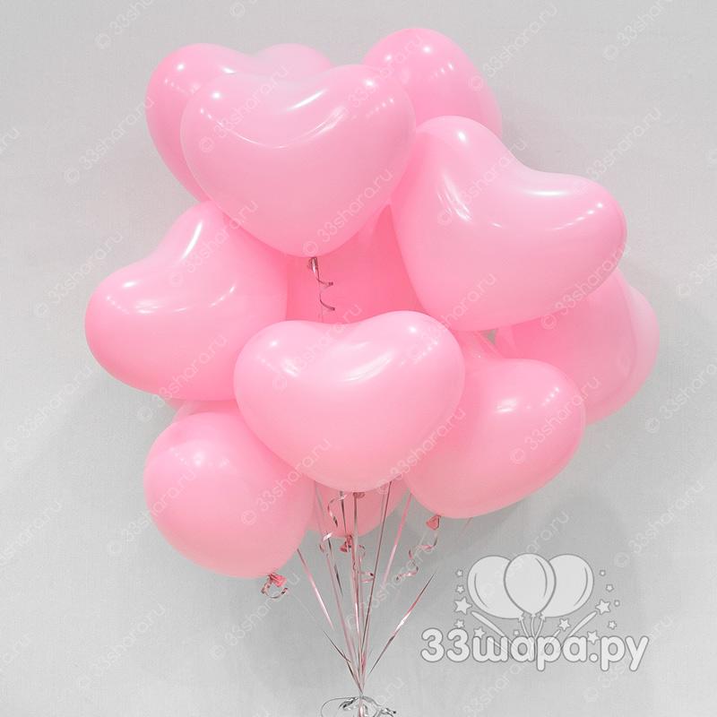 Розовые гелиевые сердечки