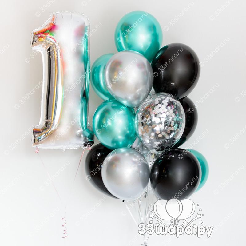 """Набор шаров """"Бирюза и черный"""" с цифрой"""