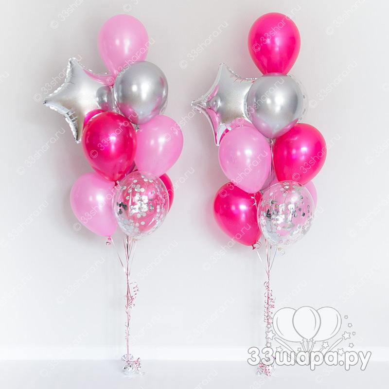 Набор шаров розово-серебряный