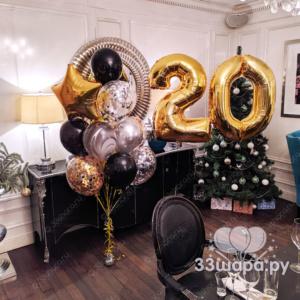 """Набор шаров """"Брызги шампанского"""" с двумя цифрами"""