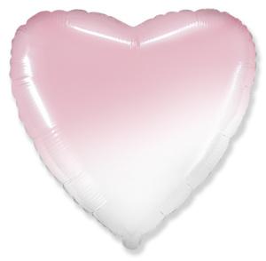 Сердце фольгированное розовый градиент 40 см