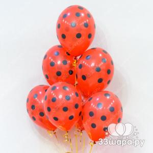 Гелиевые шары красные в горошек
