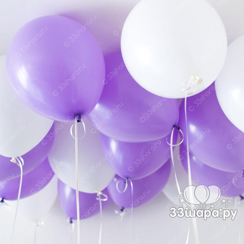 Бело-сиреневые-шары-под-потолок