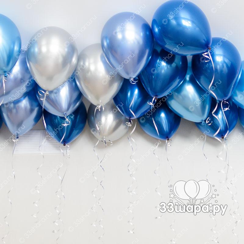 Серебристо-синие-шары-под-потолок