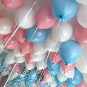 Шары бело-розово-голубые под потолок