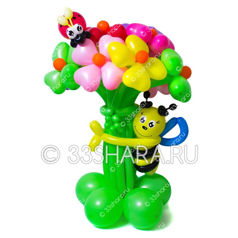1-10 Пчелка с огромным букетом из воздушных шаров