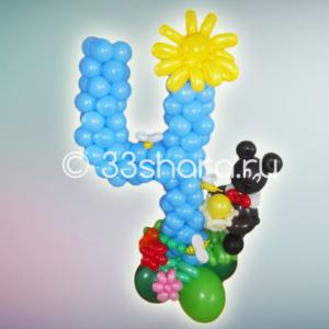 3-11 Композиция с цифрой 4 из воздушных шаров