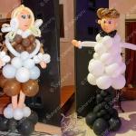 Фигурки мальчика и девочки из шаров – оформление последнего звонка