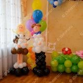 Выпускной в детском саду — фигурки школьников из шаров