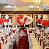 Оформление свадьбы шарами и тканью — ресторан «Гурман», г.Покров
