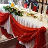 Свадебное оформление зала тканью — юбка с драпировкой — ресторан «Гурман», г.Покров