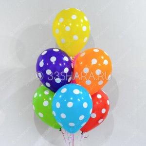 Гелиевый шарик с расцветкой в горошек