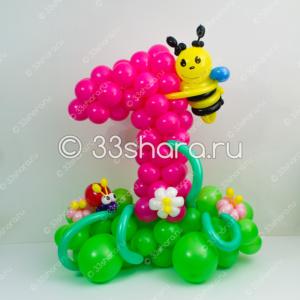 3-17 Композиция с цифрой 1 из воздушных шаров для девочки