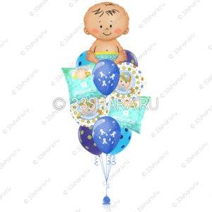 7-10 Фонтан из шариков на выписку мальчика