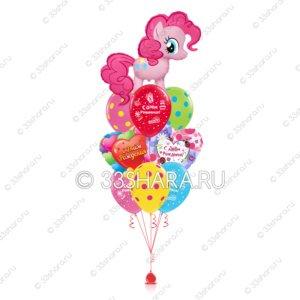 7-17 Детский фонтан из гелиевых шаров с пони Пинки Пай
