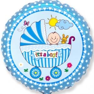 401578 круглый фольгированный шарик с коляской